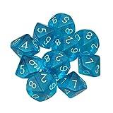 Febbya Dados Poliédricos,D10 Dados de Juego de Colores Dobles para DND MTG RPG Dungeons y Dragons Pathfinder Role Playing Dice Azul