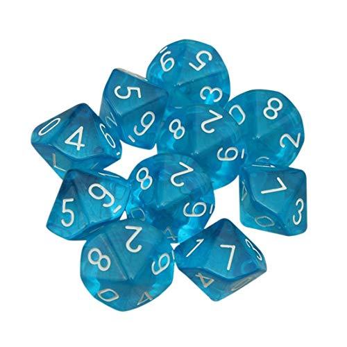 Febbya Dés Polyédriques,10 Pack Polyédrique Jeu de Dés de D10 pour MDG MTG RPG Donjons et Dragons Role Playing Dice Dat de Jeu Bleu
