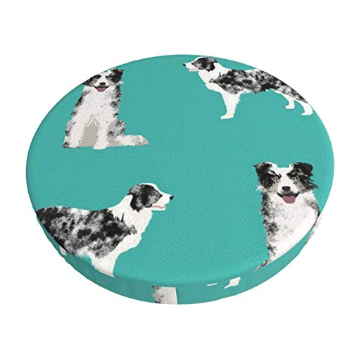 Round Bar Stools Cover,Border Collie Blue Merle Hund Türkis,Stretch Chair Seat Bar Stool Cover Seat Cushion Slipcovers Chair Cushion Cover Round Lift Chair Stool