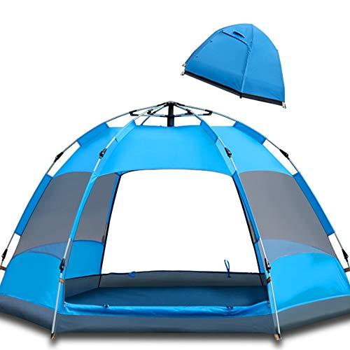 Sports Life Schnellinstallation Hexagone Zelt, Camping-Zelt, Bieten Top-Aussenzelt, Wasserdichtes Zelt Erweiterte Venting Entwurf, Vollautomatische Familie Zelt (Color : Blue)
