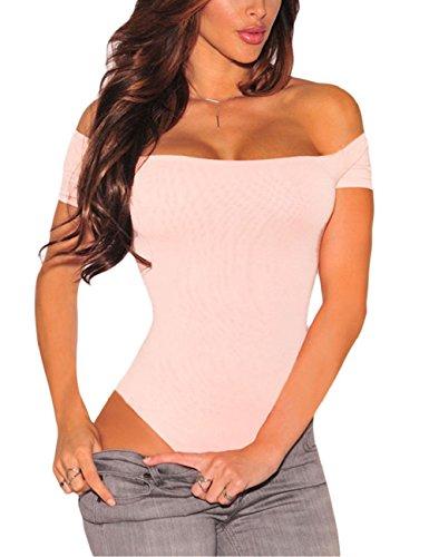 SEBOWEL Body con Hombros Descubiertos para Mujer, Manga Corta, Sexy, Elegante, con Espalda Descubierta, Camiseta para Mujer (S, Rosa)