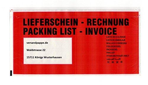 250 St. Dokumententasche DIN lang 240x125 mm selbstklebende DL Lieferscheintaschen Rechnungstaschen FSC - zertifiziert