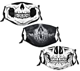 Made in USA men women kids interesting call-of-duty ghost face mask washable reusable 3 pcs with 6 Filter Balaclava Adjustable loops