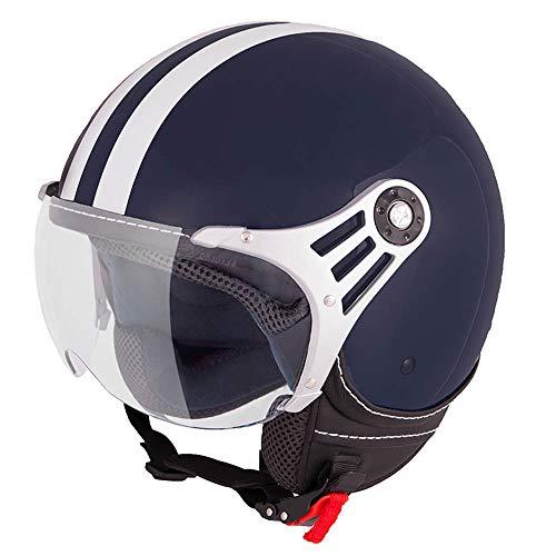 Vinz Fiori Roller Helm Jethelm Fashionhelm |in Gr. XS-XL | Jet Helm mit Streifen | ECE Zertifiziert | Motorradhelm mit Visier | Blau