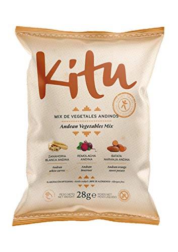 Mix de Vegetales Andinos 28g Kitu Snack. Caja de 12 unidades. Chips de vegetales saludables sin alérgenos.