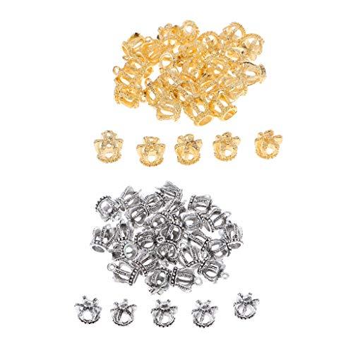 P Prettyia 60pcs Krone Anhänger DIY Schmuckherstellung Schmuckzubehör Halskette Zwischenstück auch für Fußkettchen Armband und Schlüsselkette, Silber/Gold