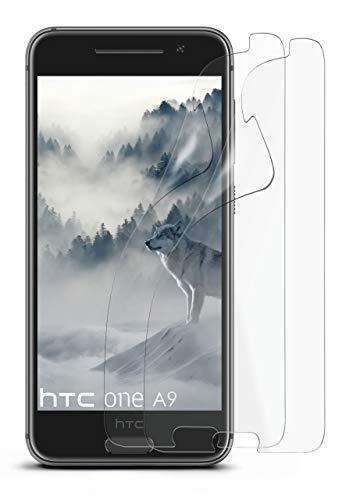 moex Anti Reflex Bildschirmschutzfolie kompatibel mit HTC One A9 | Schutzfolie Matt Bildschirm Folie gegen Reflexionen, flexibel, 2X Stück