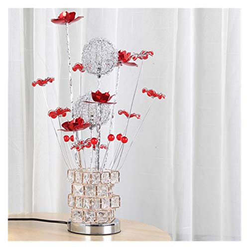 YSVSPRF table lamp Modern Flower Beside Lamp Acrylic Table Lamps for Living Room Light Art Deco Bedroom Light Led Side Table Lamp Wedding Desk Lamp (Body Color : A Red)