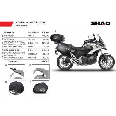 Kit-shad-15 - Maletas Laterales, baul, Bolsa deposito Kit Full Compatible con Honda nc750x 2016-2017 Honda nc750s 2016-2017 Honda NC 750 x 2016-2017