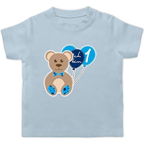 Geburtstag Baby - Ich Bin 1 Junge Bär Luftballons Erster - 12/18 Monate - Babyblau - Baby 1. Geburtstag Junge Shirt - BZ02 - Baby T-Shirt Kurzarm