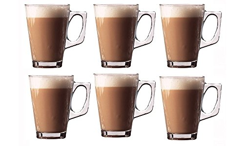 Invero 6X Set of Premium Café Latte 240ml (8.8oz) Clear Tall Glasses Perfect for Tea Coffee Mocha Hot Chocolate Cappuccino Espresso and Other Hot Drinks