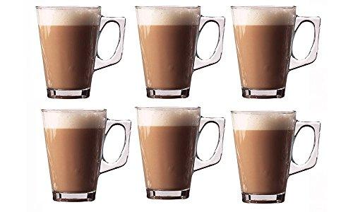 Invero® 6x Juego de Premium Café Latte 240ml (8.8oz) claro vaso alto perfecto para té café marrón Chocolate caliente Cappuccino Espresso y otras bebidas calientes