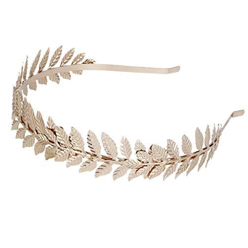 niumanery European Greek Goddess Headband Metallic Gold Silver Leaves Branch Crown Hair Band Wedding Bridal Tiara Shimmer Hair Accessories Gold