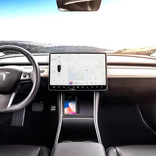 Womdee Tesla Model 3 Wireless Charger Auto, Qi Ladegerät, Zwei Telefone Charing, Überhitzungsschutz Für iPhone XS Max/XR/XS/X/8/8P, S9/S9 /S8/S8 /Note 9/Note 8 Huawei Mate 20 Pro Alle Qi Geräte