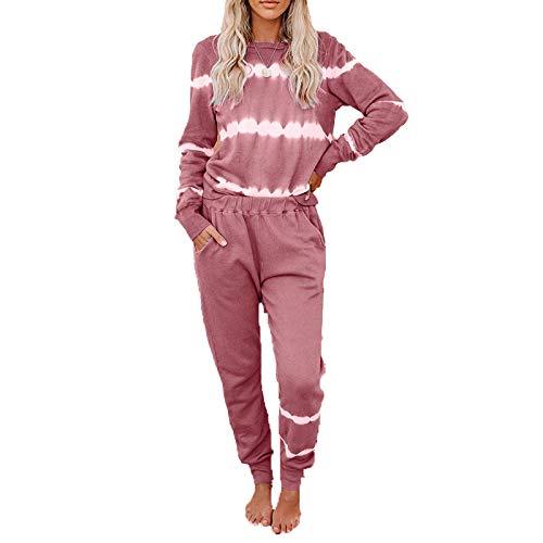 Conjunto De Pijamas para El Hogar De Moda Tie-Dye Europea Y Americana De Otoño, Pantalones Holgados Casuales, Conjunto De 2 Piezas para Viajes De Vacaciones