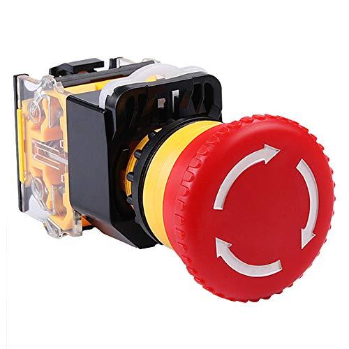 0Miaxudh - Interruptor de emergencia (botón de presión de bloqueo, cabeza de seta, plástico), color rojo, color rojo