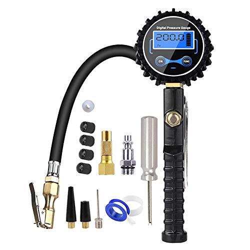 Maluokasa Inflador digital de neumáticos con pantalla LCD, medidor de presión de aire, medidor de presión de neumáticos, alta precisión, 200 PSI con pantalla LCD para coche, moto, camión