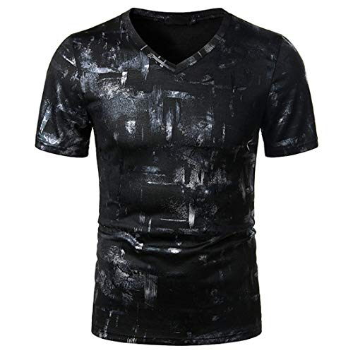 Camiseta Hombre Verano Cuello V Ajuste Regular Hombre Casuales Camisa Moda Personalidad Estampado Manga Corta Moderno Casual Fitness Hombre Deportiva Camisa E-Black L