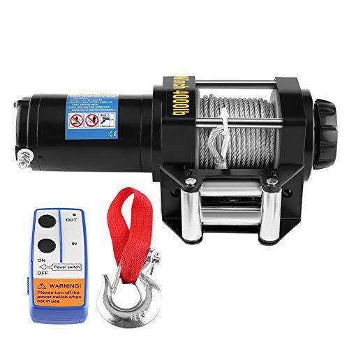 Cabrestante, Cable de acero Eléctrico 12V de Recuperación de 4000Lbs con Control...