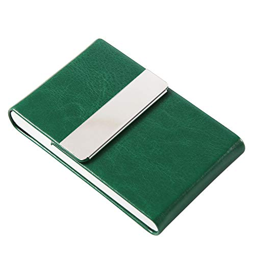 JuneLsy Business Card Holder Case - Professional PU Leather Business Card Case Metal Name Card Holder Pocket Business Card Carrier for Men & Women with Magnetic Shut (S-Dark Green)