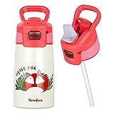 Newdora Borraccia Bambini-350ml-Borraccia con Cannuccia per Bambini-Mini Bottiglia Acqua Senza BPA-Bottiglia A Prova di Perdite-Borraccia Termica in Acciaio-Borraccia con Cannuccia Portabile - Volpe