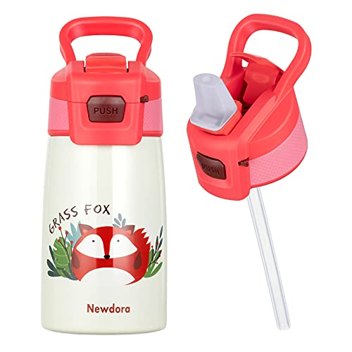 Newdora Gourde Isotherme,350ML,Bouteille Isotherme avec de la Paille,Gourde Enfant sans BPA pour l'école, Les Sports,la Maternelle,de Plein Air (Renard)