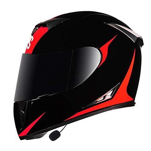LAMZH Cascos de motocicleta integrados con Bluetooth, de cara completa, con doble visera, antivaho, para adultos, protección (color: rojo, tamaño: M 54)