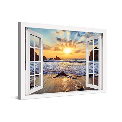 PICANOVA – Cuadro sobre Lienzo Sunset Over Rocky Beach Window 120x80cm – Impresión En Lienzo Montado sobre Marco De Madera (2cm) – Disponible En Varios Tamaños – Colección Playas