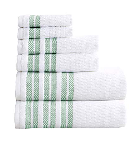 6-Piece Towel Set. 100% Cotton Popcorn Textured Striped Bathroom Towels. Quick Dry and Absorbent Towels. Set Includes 2 Bath, 2 Hand, and 2 Wash. Elham Collection. (6 Piece, Eucalyptus)
