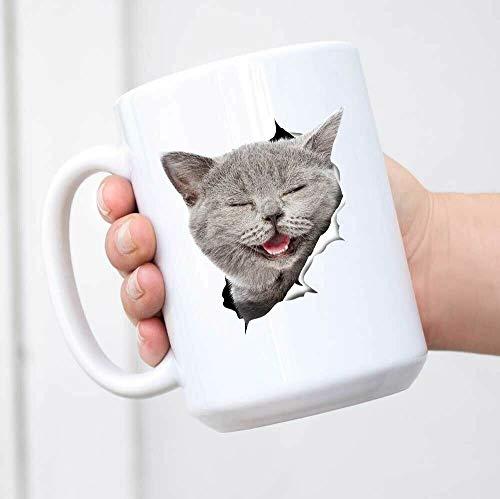 Divertida taza de café, taza de café con diseño de gato gris, taza de café divertida de cerámica, regalo perfecto para amantes de los gatos, taza de té, taza de regalo para mujeres y hombres