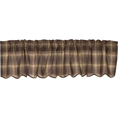 VHC Brands Rustic & Lodge Kitchen Window Curtains - Dawson Star Brown Scalloped Valance, 16x72