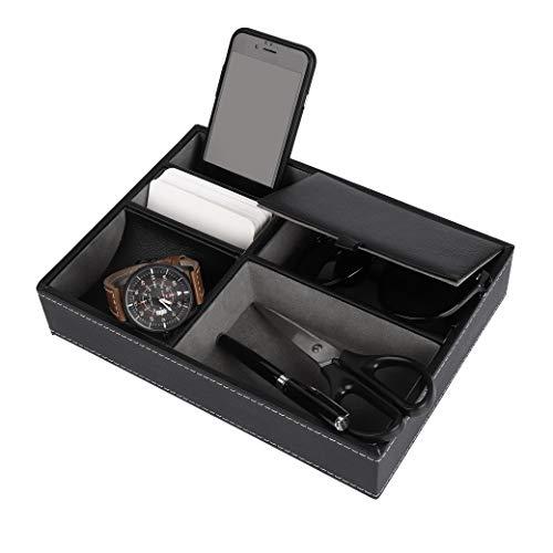 MaoXinTek Valet-Tablett aus Leder Nachttisch, Organizer Box für Schreibtisch oder Kommode, Schwarz Aufbewahrungskoffer für Schlüssel, Telefon, Geldbörse, Münzen, Schmuck und mehr, 25 x 19 x 5 cm