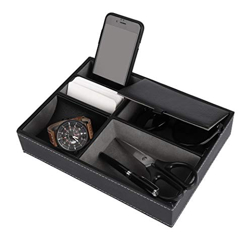 ISIYINER Valet Tray Faux Leather Nightstand Organizer for Men, Desk or Dresser Top Storage Box Holder for Jewelry Keys Phone Wallet Watch etc.