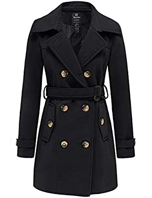 Wantdo Women's Slim Trench Coat Double Breasted Pea Coat with Belt Black L by