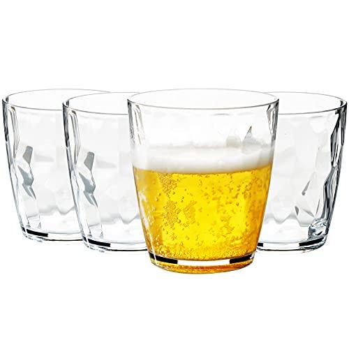 MICHLEY 400 ML Tritan-Plástico Grande Vasos de Agua y de Whisky, Irrompible Copas de Agua Cerveza Cristalería para Fiesta, Apto para Lavavajillas, Juego de 4 piezas