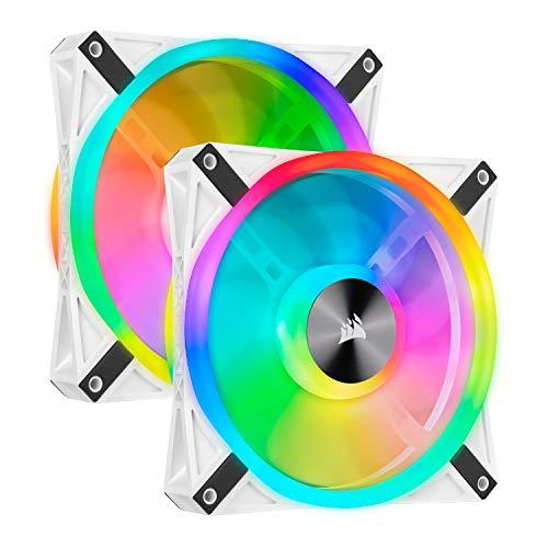 Corsair QL Series, iCUE QL140 RGB, 140mm RGB LED PWM White Fan, Dual Fan Kit with Lighting Node Core