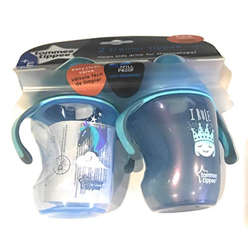 Price comparison product image Tommee Tippee Trainer Sippee Cup 2 pack pink / purple NEW IMPROVED