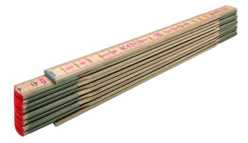STABILA Holz-Gliedermaßstab Type 600 N-S, 2 m, schlanke Lättchen, naturfarben, metrische Skala