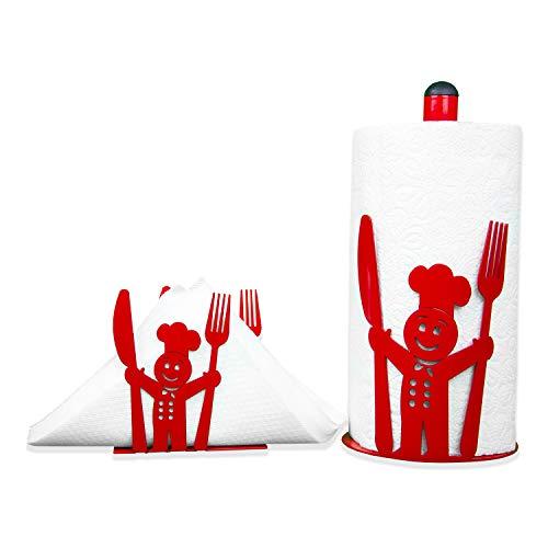 CAI & ZAI -Set Koch-Toilettenpapierhalter & Serviettenhalter-Design-Made in Italy - Cittex-Halter (rot)