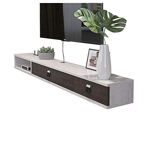 Mueble de TV, Mesa Flotante para TV, Consola Multimedia montada en la Pared, Soporte de TV versátil, Estructura Estable, Cables de administración Ocultos (Color : B, Size : 140CM/55.1IN)