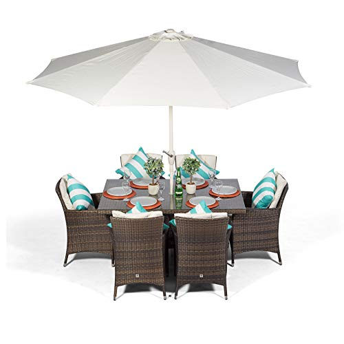 Savannah Rattan Dining Set   Rectangle 6 Seater Brown Rattan Dining Set   Outdoor Poly Rattan Garden Table & Chairs Set   Patio Conservatory Wicker Garden Dining Furniture with Parasol & Cover