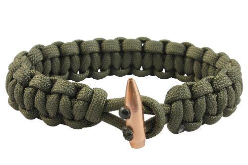 Bison Designs Single Shot Paracord Bracelet, Dark Olive, Small