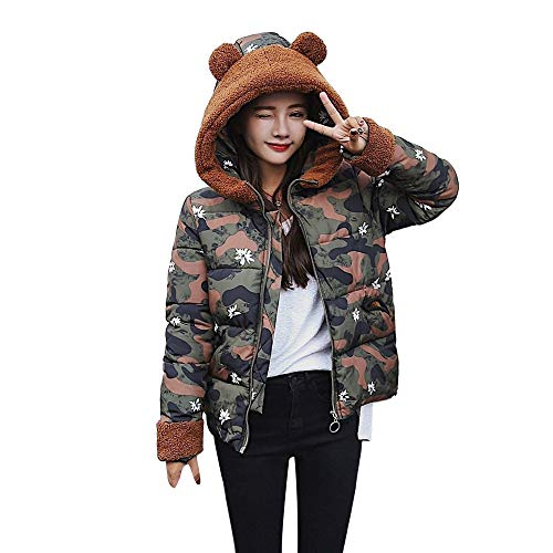 Alikeey katoenen jack voor dames, winterjas, katoen met capuchon (camouflage) slanke mantel van dikke wol met capuchon voor vrouwen