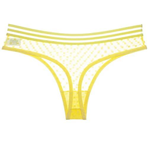 T-YIFUZX 2pcs Bragas para Mujer Bragas Baratas para Mujer Bragas para Mujer Tangas de Cuerda Damas Transparente Amarillo M