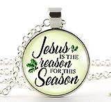 Collier de Noël Jésus is The Reason for The Season Vintage Inspiré Religieuse Foi Chrétienne Pendentif Cadeau de vacances