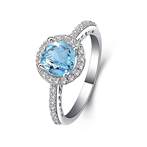 AmDxD Anillo Compromiso 925, Anillo Mujer 925 6.5MM Redonda Azul Topacio Circonita| Plata| Regalo Aniversario Novia (Circunferencia de 47 mm a 65 mm)