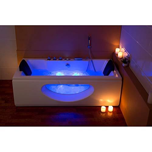 XXL Luxus SPA LED Whirlpool Glas Badewanne SET+Armaturen Massage-Düsen inkl. Spedition