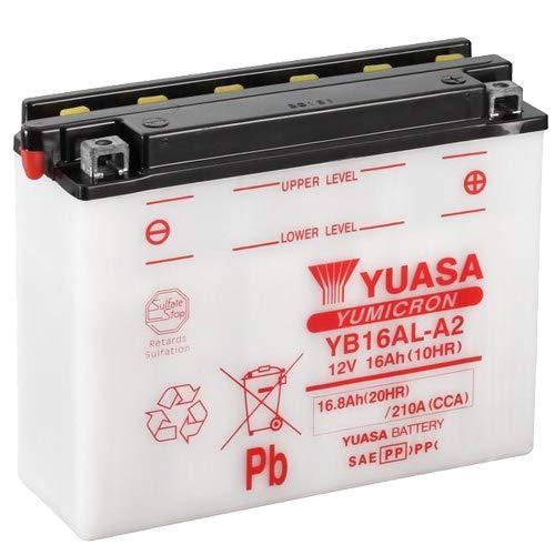 Batterie YUASA YB16AL-A2 (DC) offen ohne Säure, 12V 16Ah CCA:210A (207x71,5x164mm) für Yamaha V-MAX 1200 Baujahr 1999