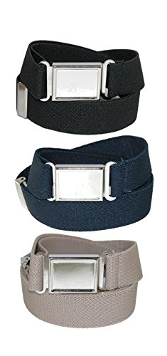 CTM Kids' Adjustable Elastic Belt with Magnetic Buckle (Pack of 3 Colors)