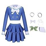 Danganronpa V3 Cosplay Chabashira Tenko Blue Dress Girls Costume High School Sailor Uniform Suit Party Outfit